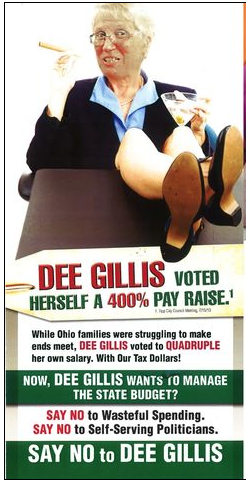"The Republican ad smearing Dee Gillis shows her as a cigar smoking, martini swilling politician who voted herself a big raise. The DDN article points out her vote ""would actually cost her $13,078 annually in lost compensation."""